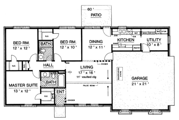 Ranch Floor Plan - Main Floor Plan Plan #45-555