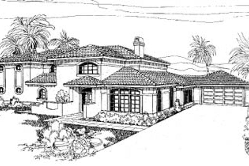 Mediterranean Style House Plan - 4 Beds 2.5 Baths 2886 Sq/Ft Plan #60-134 Exterior - Front Elevation