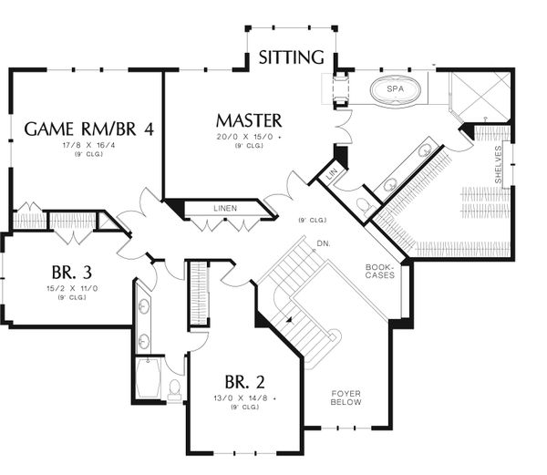 Craftsman Floor Plan - Upper Floor Plan #48-612