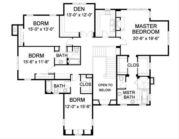 Farmhouse Floor Plan - Upper Floor Plan Plan #490-8