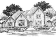 European Style House Plan - 4 Beds 4.5 Baths 4487 Sq/Ft Plan #141-112 Exterior - Front Elevation