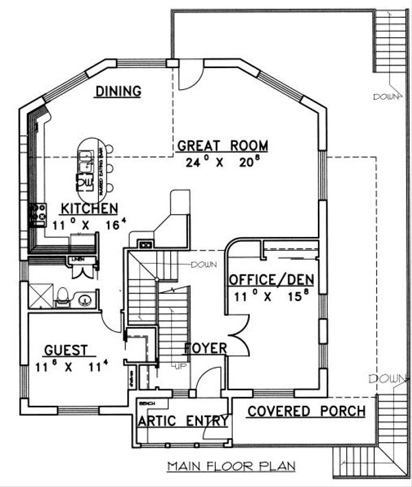 Traditional Floor Plan - Main Floor Plan Plan #117-163