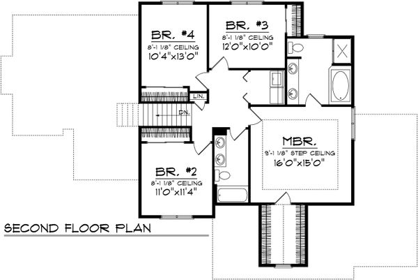 Ranch Floor Plan - Upper Floor Plan Plan #70-1033