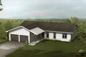 Ranch Exterior - Front Elevation Plan #57-231