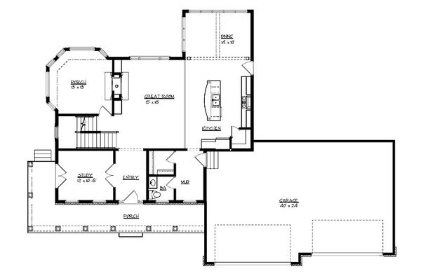Craftsman Floor Plan - Main Floor Plan #320-495