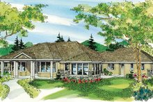 Ranch Exterior - Front Elevation Plan #124-752