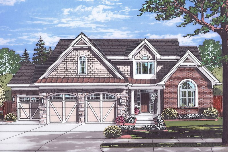 Country Exterior - Front Elevation Plan #46-880