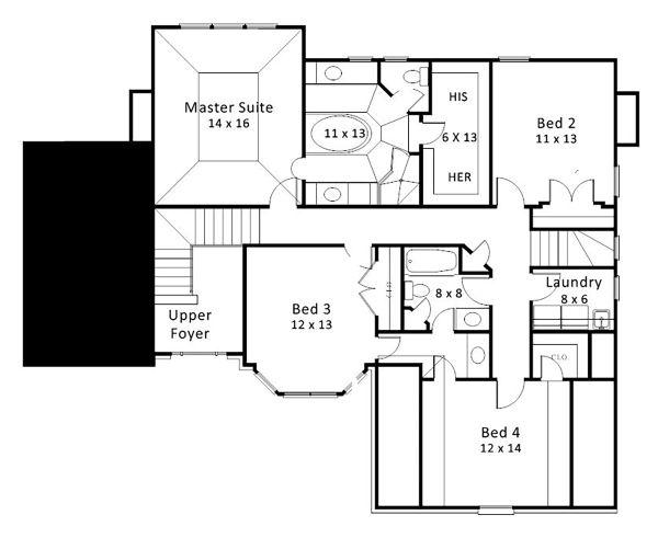 European Floor Plan - Upper Floor Plan Plan #119-127