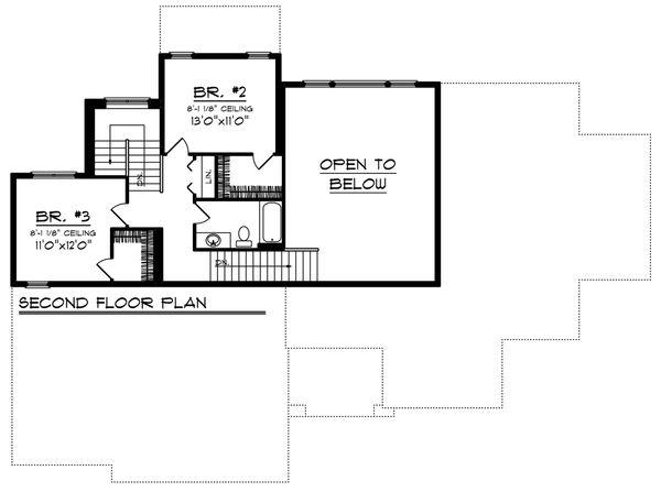 Southern Floor Plan - Upper Floor Plan Plan #70-1227