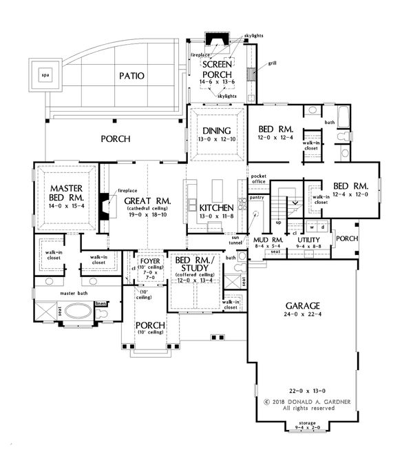 Farmhouse Floor Plan - Main Floor Plan Plan #929-1070
