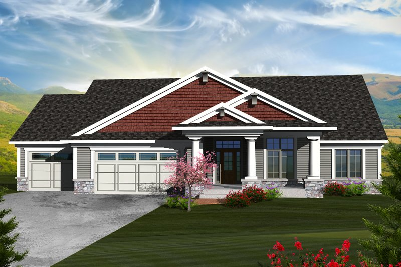 Ranch Exterior - Front Elevation Plan #70-1124