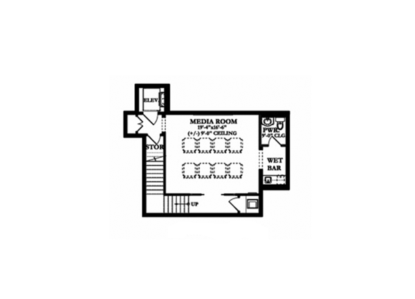 Mediterranean Floor Plan - Lower Floor Plan Plan #1058-155
