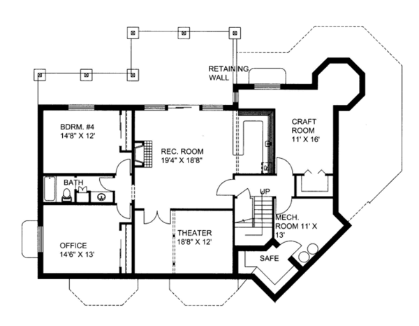 Contemporary Floor Plan - Lower Floor Plan #117-844