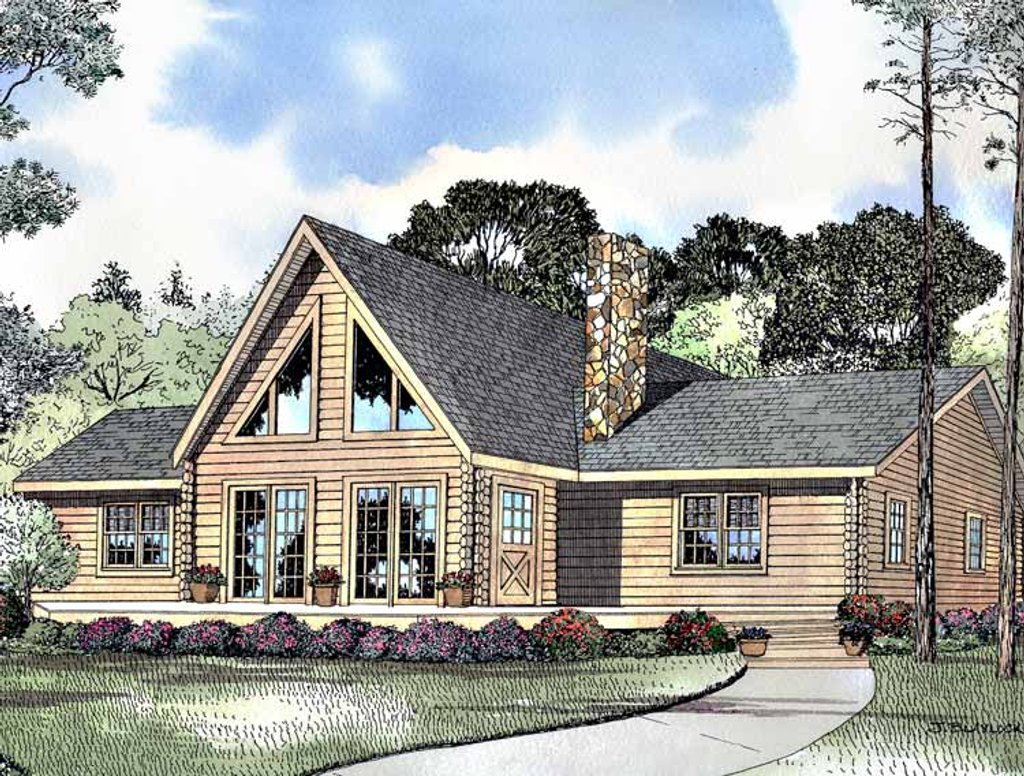 Log style house plan 3 beds 2 baths 1502 sq ft plan 17 for Www eplans com