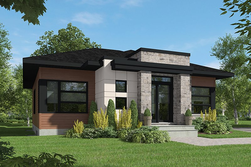 Contemporary Style House Plan - 2 Beds 1 Baths 1266 Sq/Ft Plan #23-2714 Exterior - Front Elevation