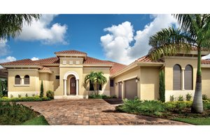 Dream House Plan - Mediterranean Exterior - Front Elevation Plan #930-446