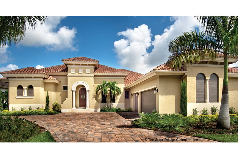 Mediterranean Exterior - Front Elevation Plan #930-446