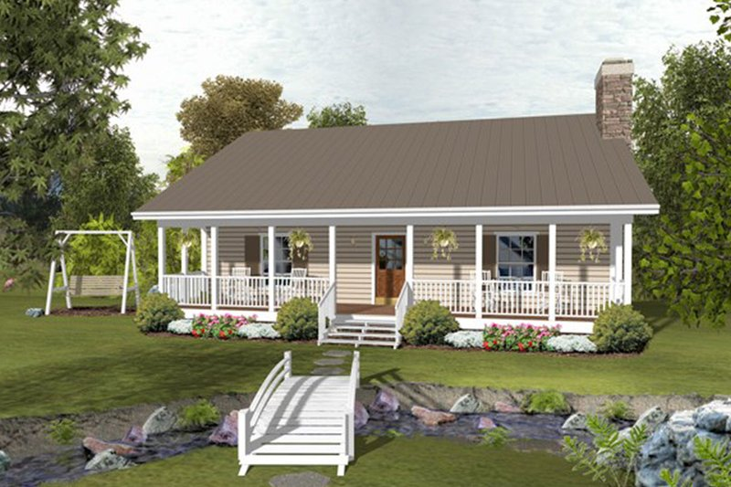 Country Style House Plan - 2 Beds 1.5 Baths 1059 Sq/Ft Plan #56-697 Exterior - Front Elevation