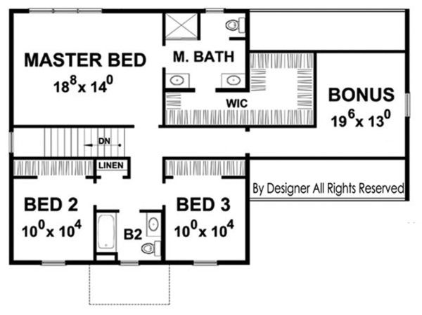 Colonial Floor Plan - Upper Floor Plan Plan #20-2249