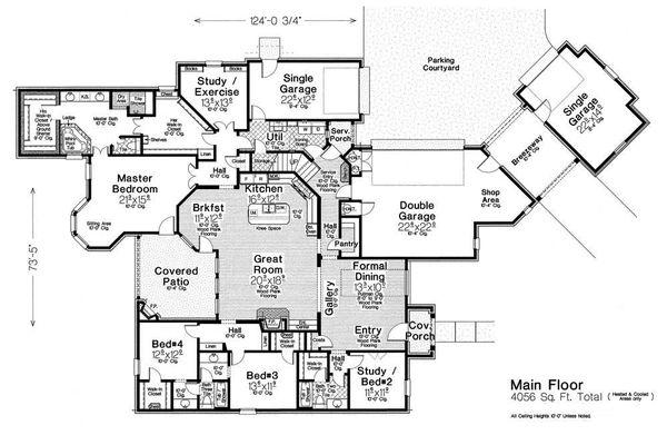 European Floor Plan - Main Floor Plan Plan #310-1308
