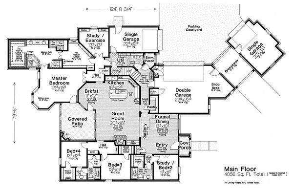 European Floor Plan - Main Floor Plan Plan #310-1308