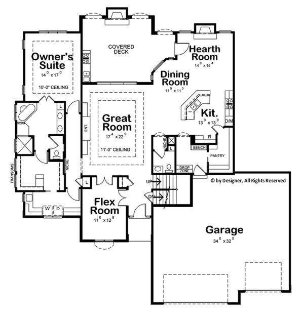 European Floor Plan - Main Floor Plan Plan #20-2245