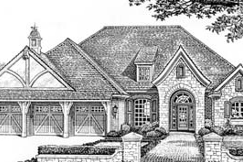 Dream House Plan - Tudor Exterior - Front Elevation Plan #310-534