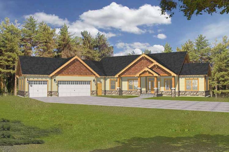 Craftsman Exterior - Front Elevation Plan #1037-18