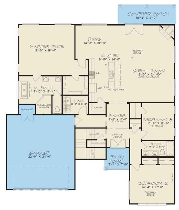 Contemporary Floor Plan - Main Floor Plan Plan #17-3393
