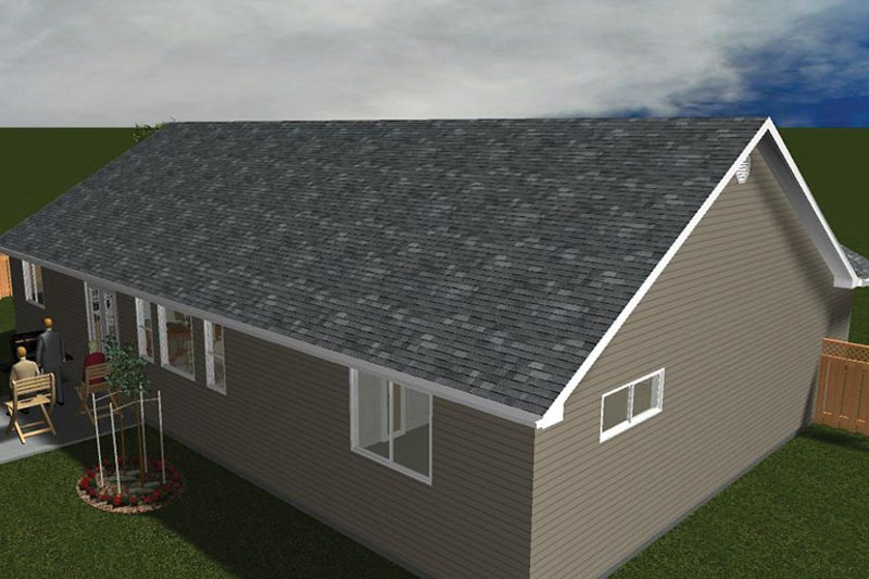 Ranch Exterior - Rear Elevation Plan #1060-36 - Houseplans.com