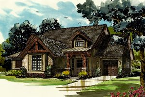 Cabin Exterior - Front Elevation Plan #942-40