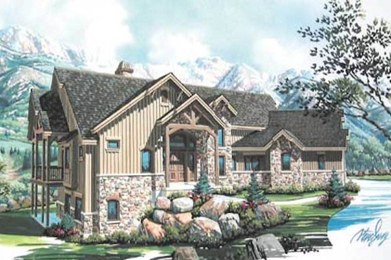 Craftsman Style House Plan - 3 Beds 3.5 Baths 2495 Sq/Ft Plan #5-147 Exterior - Front Elevation