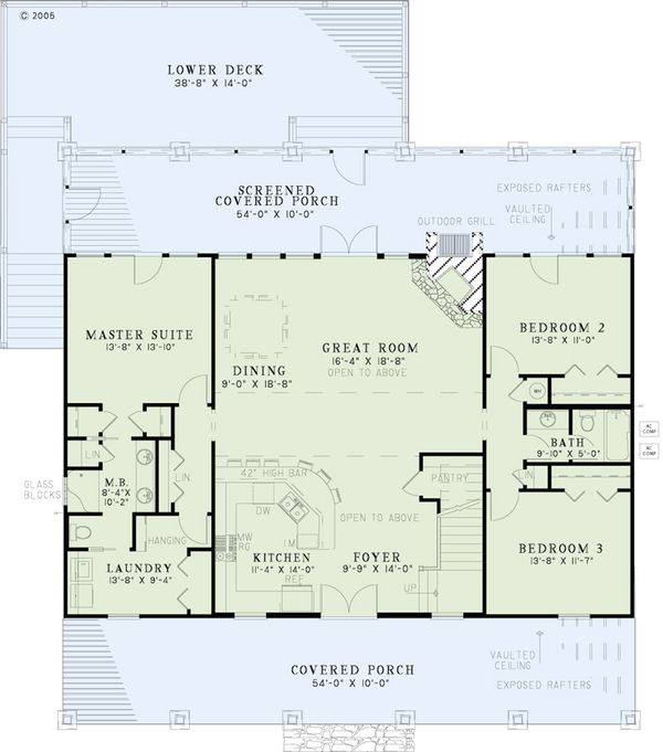 House Plan Design - Country Floor Plan - Main Floor Plan #17-2512