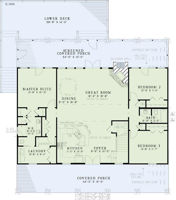 Dream House Plan - Country Floor Plan - Main Floor Plan #17-2512