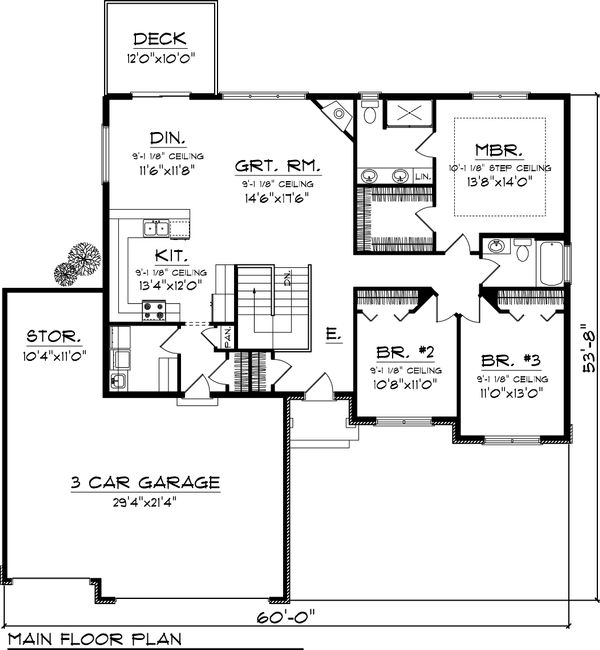 Ranch Floor Plan - Main Floor Plan Plan #70-1047