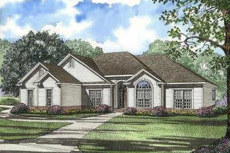 Traditional Style House Plan - 4 Beds 3 Baths 1989 Sq/Ft Plan #17-594 Exterior - Front Elevation