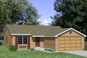 Ranch Style House Plan - 3 Beds 2 Baths 1100 Sq/Ft Plan #116-168 Exterior - Front Elevation
