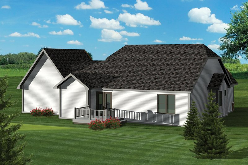 Craftsman Exterior - Rear Elevation Plan #70-1042 - Houseplans.com