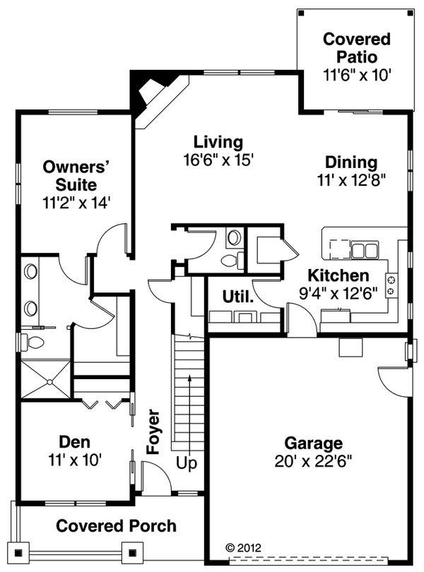 Craftsman Floor Plan - Main Floor Plan #124-890