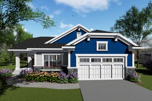 Ranch Exterior - Front Elevation Plan #70-1416
