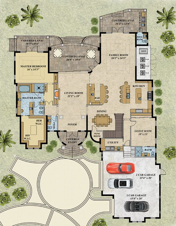 Mediterranean Floor Plan - Main Floor Plan Plan #548-18
