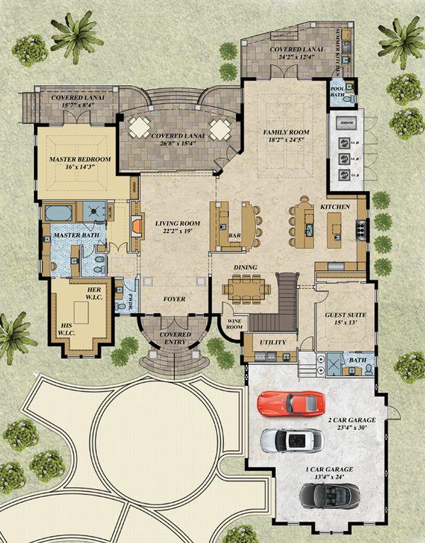 Mediterranean Floor Plan - Main Floor Plan #548-18