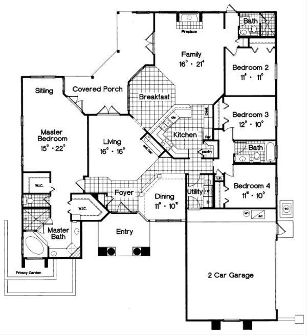 Mediterranean Floor Plan - Main Floor Plan Plan #417-252