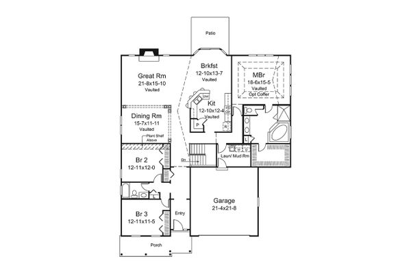 House Plan Design - Country Floor Plan - Main Floor Plan #57-645