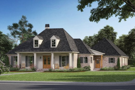 Southern Exterior - Front Elevation Plan #1074-19