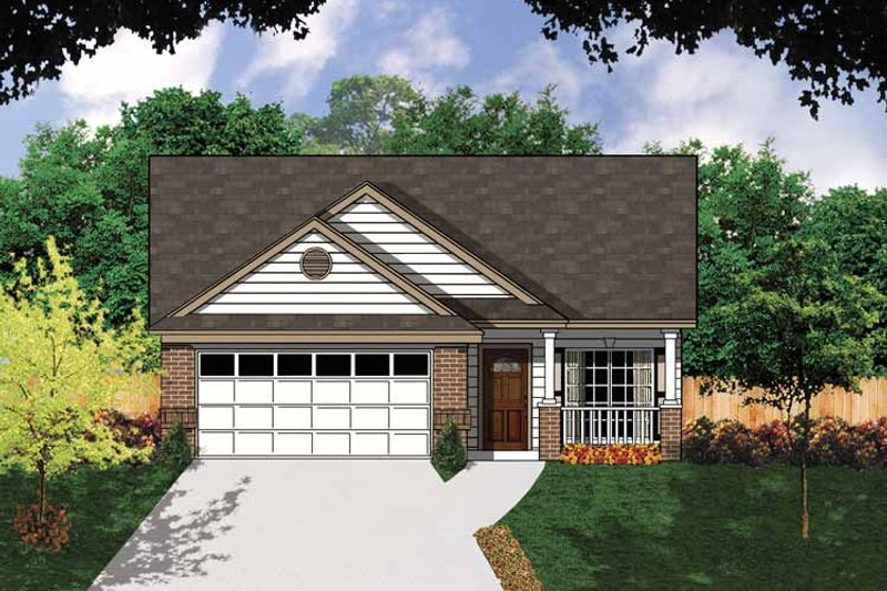 Architectural House Design - Ranch Exterior - Front Elevation Plan #62-159