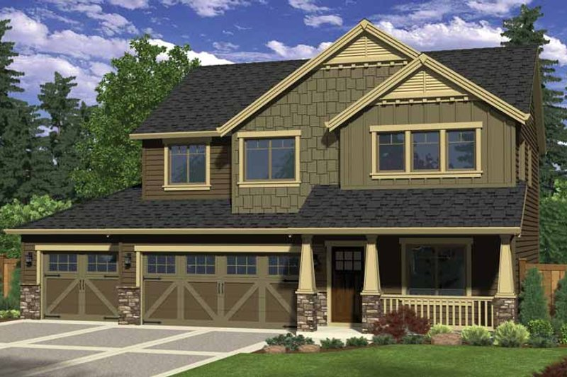 Craftsman Style House Plan - 4 Beds 3 Baths 2130 Sq/Ft Plan #943-27 Exterior - Front Elevation