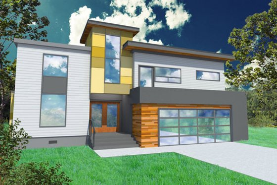 Modern Exterior - Front Elevation Plan #518-4