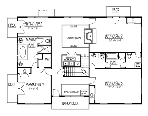 Country Floor Plan - Upper Floor Plan Plan #1061-34