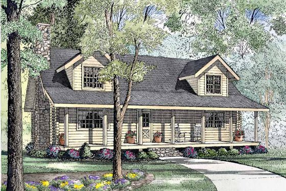 Log Exterior - Front Elevation Plan #17-3073
